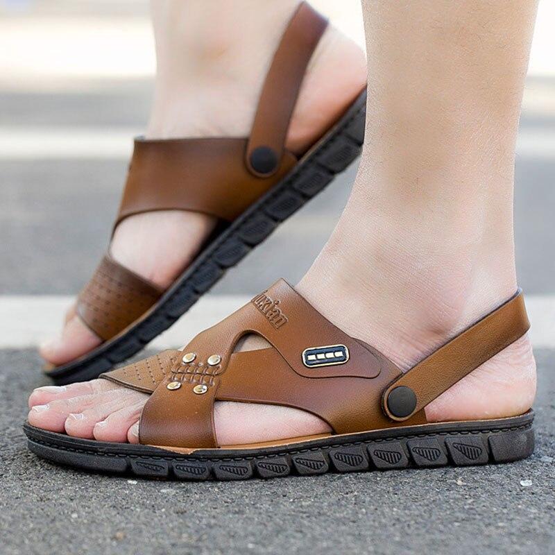 New Men Sandals Leather Summer Beach Shoes Men's Sandal Shoes Soft Bottom Male Roman Comfortable Outdoor Sneakers Big Size