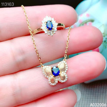 цена KJJEAXCMY Fine Jewelry 925 Sterling Silver Inlaid Natural Sapphire popular Ring Necklace Pendant Set Support test онлайн в 2017 году