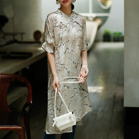 ROJAY Silk Dress Real Silk Cheongsam Dress Improved Dress Print Dress Slit Dress Lacing Summer Dress Butterfly Sleeve