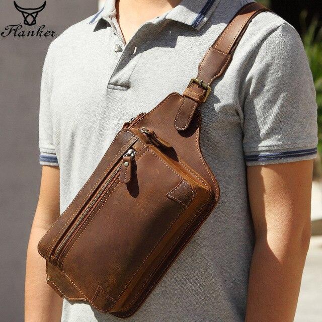 فلانكر حقيقية مجنون الحصان جلد الرجال حقيبة ساعي الموضة حقيبة صدر للرجال السفر العلامة التجارية الخصر حزم الكتف حقيبة كروسبودي للذكور