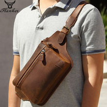 Flanker genuine crazy horse leather men messenger bag fashion chest bag travel brand waist packs shoulder crossbody bag for male