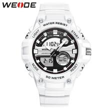WEIDE zegarek męski zegarek wojskowy cyfrowy zegarek sportowy zegarek kwarcowy analogowy ręczny zegarek męski zegarek luksusowy zegarek męski tanie tanio Stop 20cm 5Bar Moda casual Klamra Nieregularny kształt 27mm 16 5mm Hardlex Chronograph Alarm Auto data Stoper Wyświetlacz tydzień