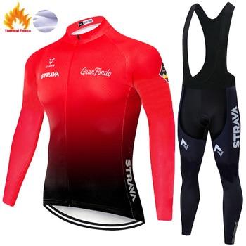 STRAVA-maillot térmico y polar para ciclismo para hombre, ropa para exteriores, para...