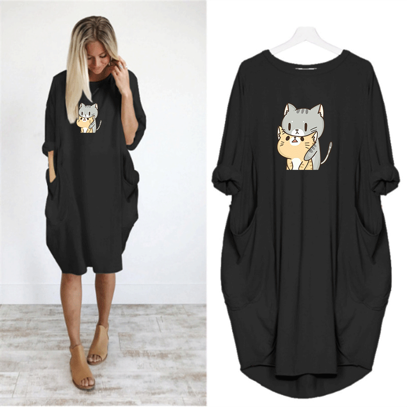Dress Women Cute Print Cat Dog Pocket Casual Loose Vintage Party Autumn Girls Clothes Kawaii Womens Plus Size M-5XL Dresses 2020