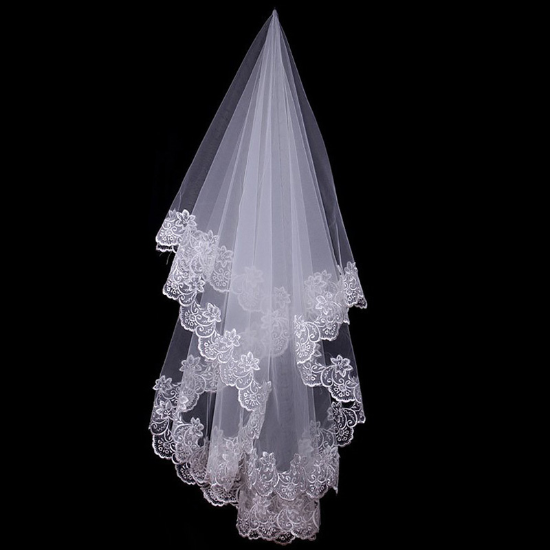 White Cathedral Wedding Veils Short One Layer Bridal Veil Appliques Lace Edge No Comb Wedding Accessories