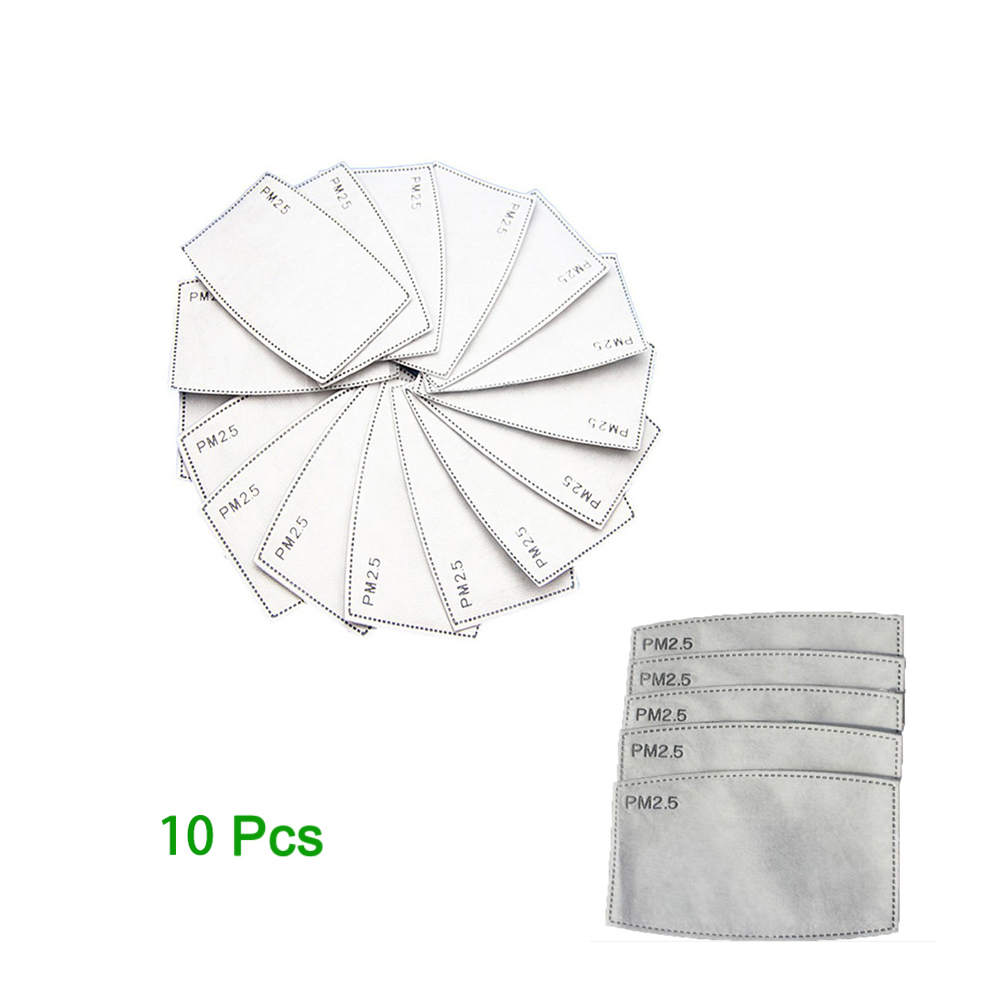 10Pcs/Set Child Adult Activated Carbon Filter PM2.5 Anti Haze Mouth Mask 5 Layers Non-woven Kids Adult Replaceable Filter-slice