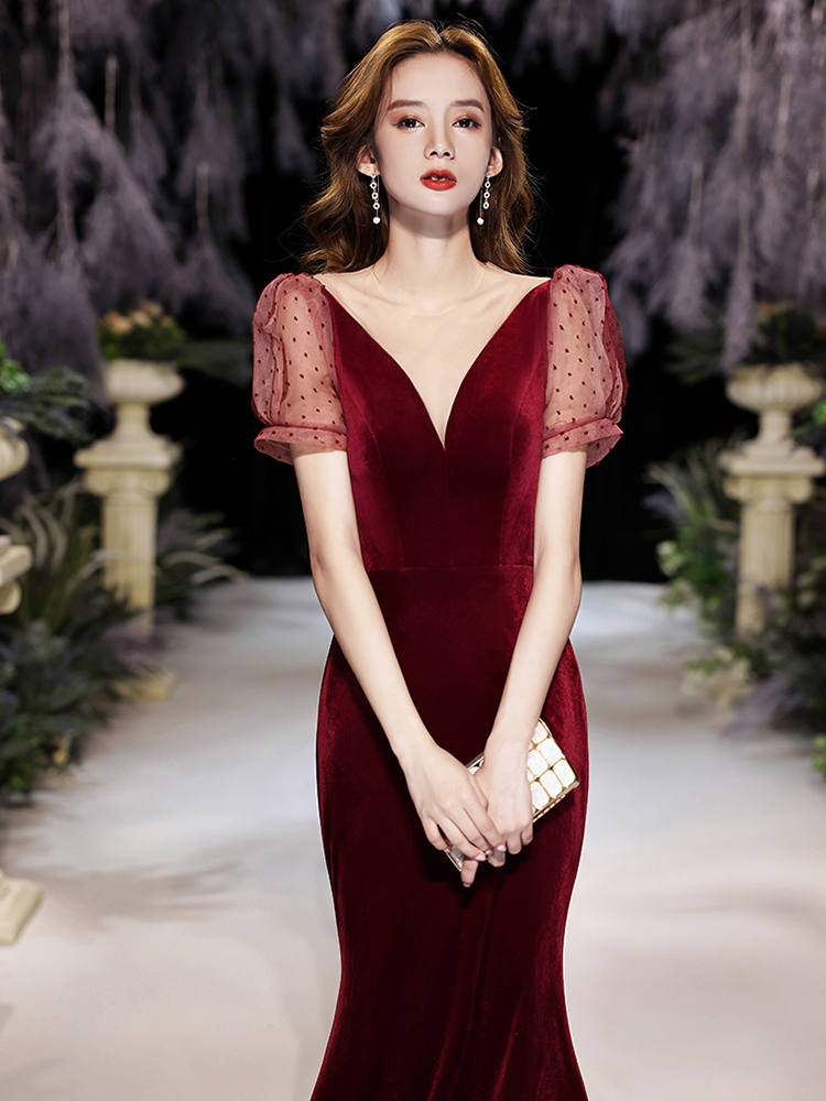 Sexy Deep V-Neck Backless Long Dress Wine Red Puff Sleeve Party Dress Elegant Mermaid Gown For Banquet
