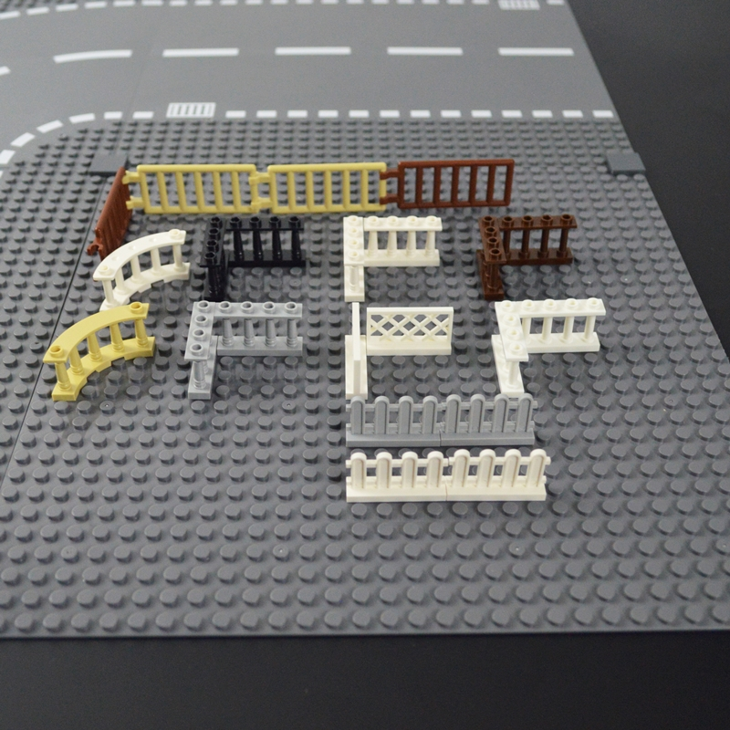 City Accessories House Fence Stairs Ladder Pillar Wall Lights Building Blocks MOC Parts Fences Bricks Compatible All Brands Toys