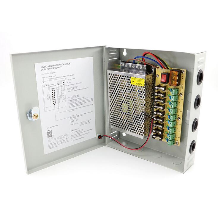 9CH AC100-240V à DC12V 5A 10A 15A transformateur adaptateur de boîte d'alimentation pour CCTV caméra de sécurité LED bande de lumière