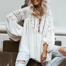 цена на Lace Patchwork Shirt For Women V Neck Lantern Sleeve Hollow Out Lace Up Perspective Blouse Female Fashion 2019