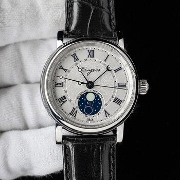 heren horloge SUGESS Mechanical Chronograph Watch Men Seagull ST2108 Movement Automatic Sapphire Moon Phase Luminous Hand Watch 18