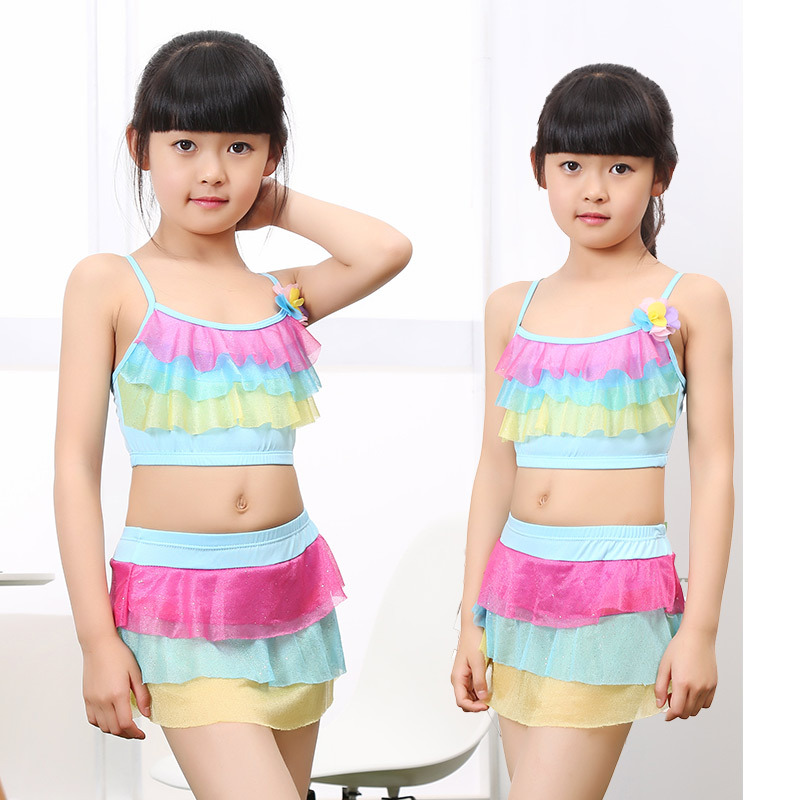 Manufacturers Direct Selling Girls Split Type Two-Piece Set Princess Dress-Briefs Small CHILDREN'S Children Beach Swimming Comfo