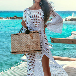 Image 3 - 2020 Crochet Tunic Beach Dress Cover ups Summer Women Beachwear Sexy Hollow Out Knitted Swimsuit Cover Up Robe de plage #Q716