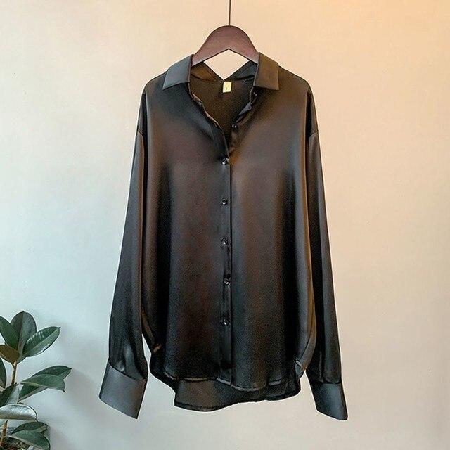 High Quality Elegant Imitation Silk Blouse Spring Women Fashion Long Sleeves Satin Blouse Vintage Femme Stand Street Shirts 4