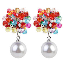 Hand-woven acrylic earrings pearl pendant earrings women's party earrings BOHO 2020 new jewelry wholesale