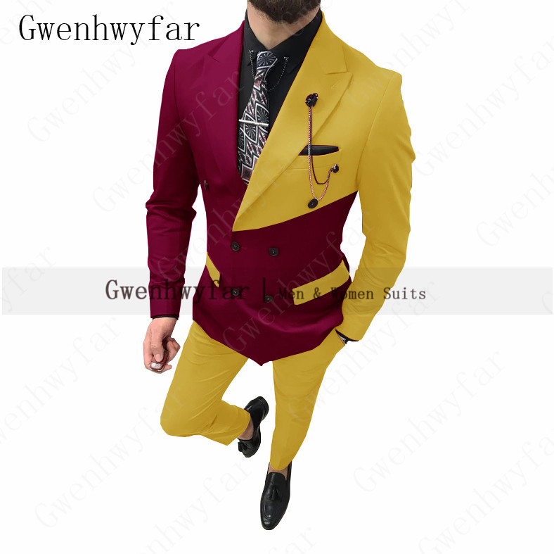 Men Suit Wedding-Suits Prom-Tuxedos Burgundy Groom Blazer--Pants Slim-Fit Business Yellow