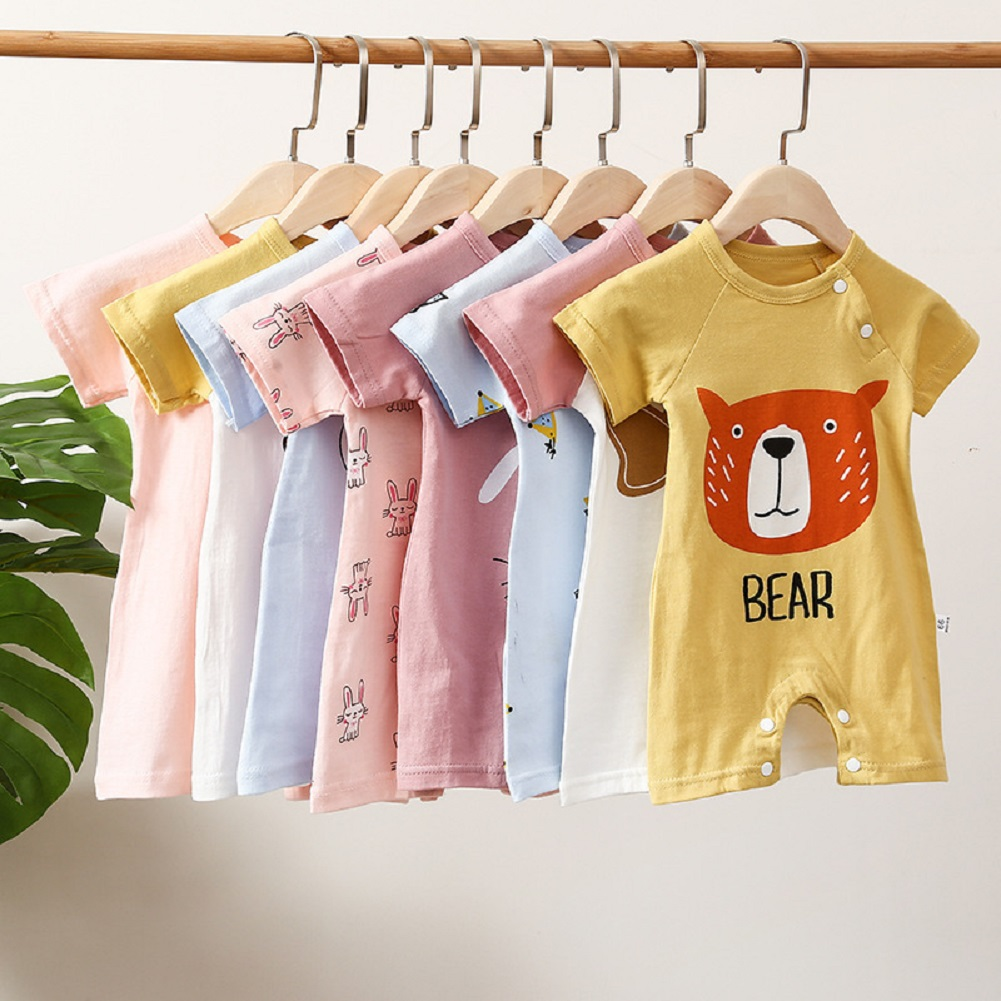 2021 New Baby One-Piece Summer Cartoon Print Pattern Short-Sleeved Jumpsuit Boys And Girls Born Baby One-Piece Leisure Hot Sale