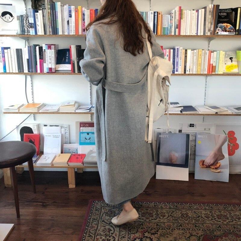 19 Winter Oversize Long Trench Coat Women Cashmere Coat Korean Lady Windbreaker Outwear Streetwear 41