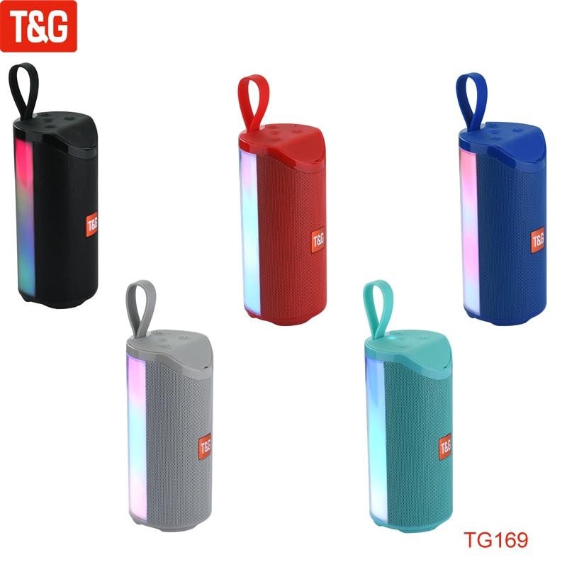 T&G TG169 LED Light Bluetooth Speaker Portable Rechargeable Wireless Speaker Soundbar SubTwoofer Loudspeaker TF MP3 Built-in Mic