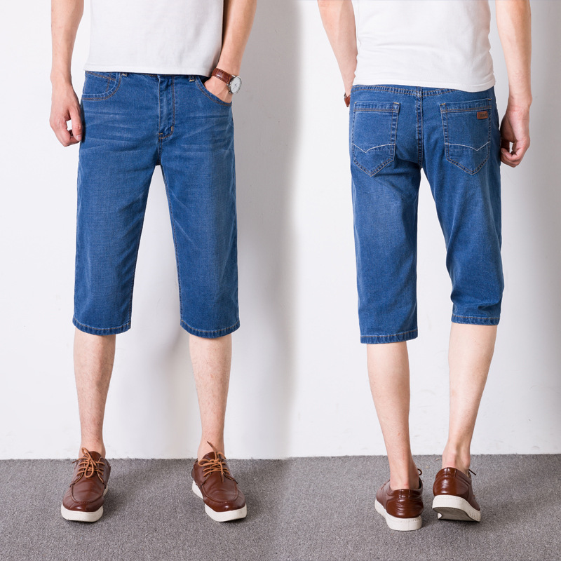 2019 Summer New Style Fashion MEN'S Jeans Trend Korean-style Large Size Elasticity Youth Slim Fit Capri Pants