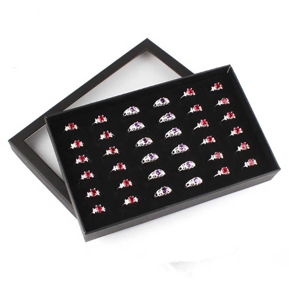 مجوهرات حلقة القرط إدراج عرض موضة شفافة 36 فتحات حلقة عرض حامل القرط صندوق تخزين المجوهرات المنظم