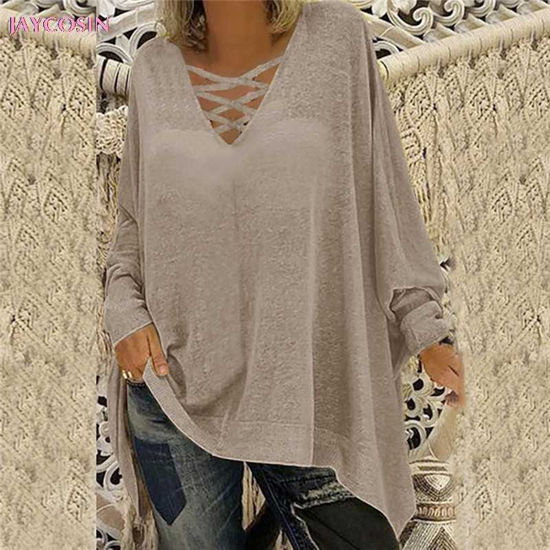 JAYCOSIN 2019 personalidad colorida suéter moda mujer suelta de talla grande sólido de manga larga Camiseta cuello en V camiseta Drop #0806