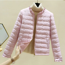 Spring Autumn Polyester Women's Down Jacket Stand Collar Long Sleeve Cardigan Pockets Slim Solid Fashion Office Lady Down Jacket
