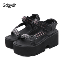 Platform Shoes Women Sandals Gothic Open-Toe Sexy Black Fashion Summer Gdgydh Pu Punk-Style