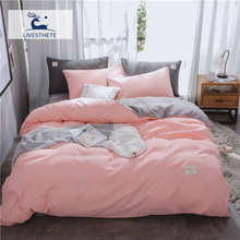 Liv-Esthete Luxury Pink Solid Bedding Set Soft Printed High Quality Duvet Cover Flat Sheet Double Queen King Bed Linen