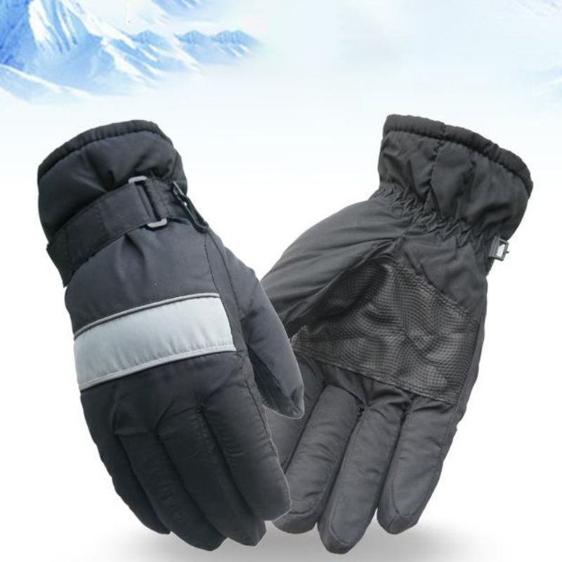Practical Waterproof Skiing Gloves Winter Outdoor Snowboard Running Riding Sports Gloves Durable Full-Finger Thermal Gloves
