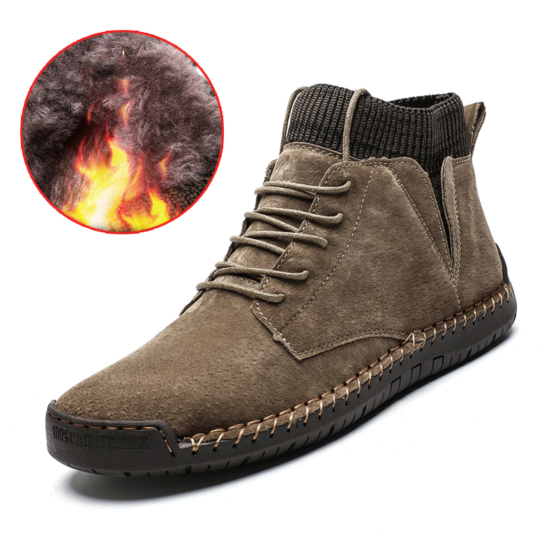 Men Leather Boots Men Winter Plush Boots Warm Shoes Men High Tops Snow Ankle Boots