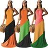 Women's Colorblock Halter Backless Maxi Dress