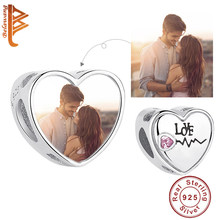 Exquisite Clear CZ Heartbeat First Love Custom Photo Beads fit Charm Bracelet Necklace 925 Sterling Silver Personalized Jewelry(China)