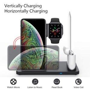 Image 3 - Беспроводное зарядное устройство 4 в 1, 10 Вт, быстрая зарядка для iPhone 11, 11pro, XS, XR, Xs Max, 8Plus, Apple Watch 5, 4, 3, 2, Airpods Pro, пенал