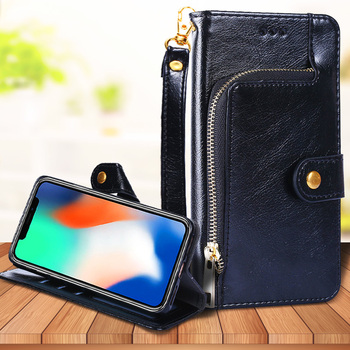 For OPPO R17 R15 Pro R11 R11S R9S Fashion Zipper Wallet Bag Flip Leather Case Lanyard Card Slots Stand Phone Protective Cover