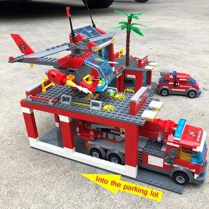 Image 5 - Modelo de estação de bombeiros da cidade conjuntos de blocos de construção caminhão bombeiro tijolos educativos brinquedos para crianças presentes