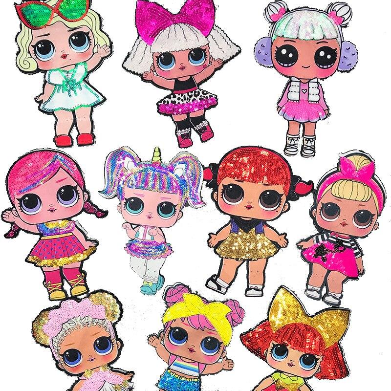 Adesivos de pano lol para boneca, adesivos decorativos fofos para surpresa, bordados para crianças, bonecas de anime, figuras e decoração