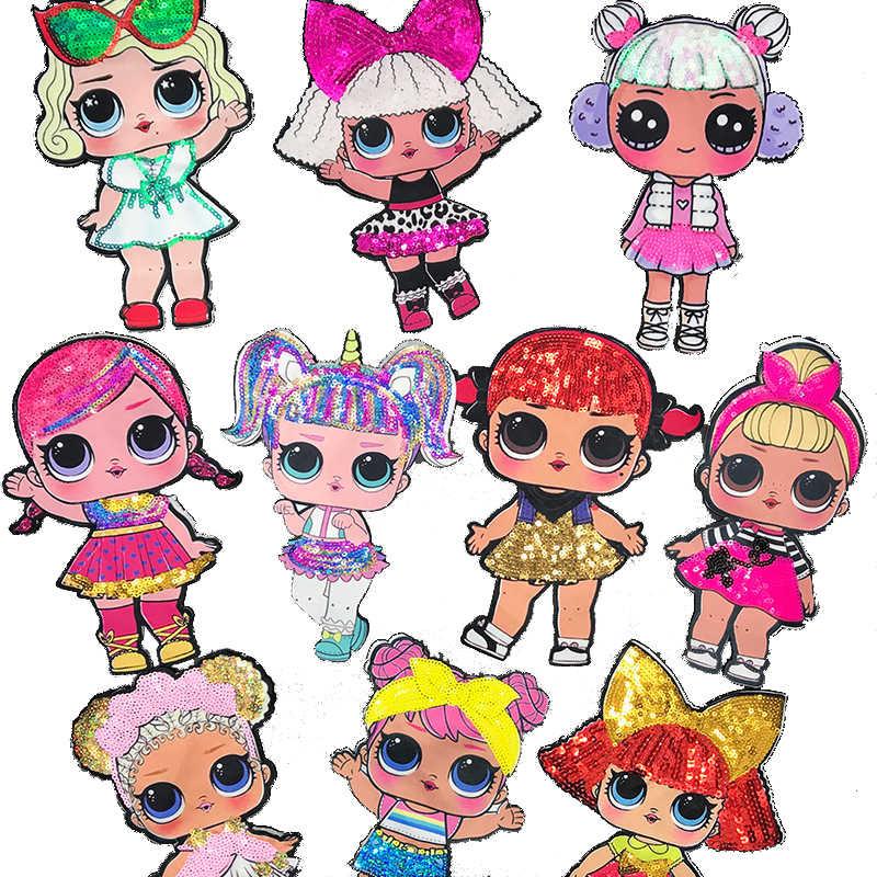 Autocollants poupée LOL Surprise en tissu   Stickers décoratifs mignons en broderie, poupées lol pour enfants, patchs décoratifs avec personnages anime