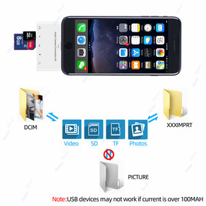 Image 4 - 5 In 1 USB 3.0 SD TF Card Camera Reader Mobile Phone Adapter For iPhone XR 11 8 7 Adapter With 3.5mm Jack Charging OTG Cable