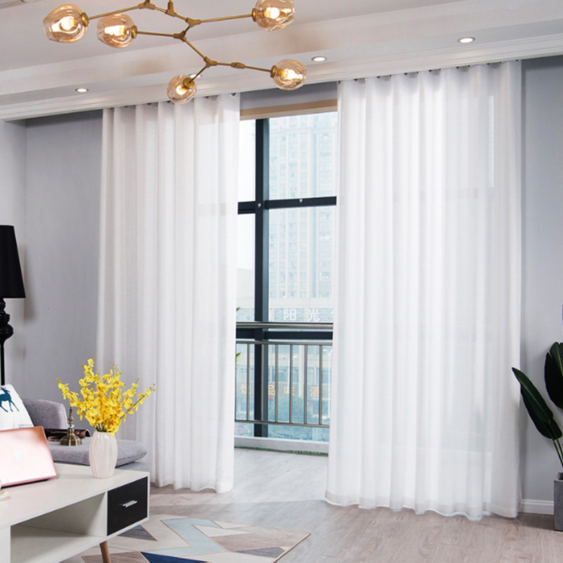 White Linen Tulle Curtains For Living Room Sheer Curtains For Kitchen Finished Modern Voile Curtains Fabric Blinds Drapes