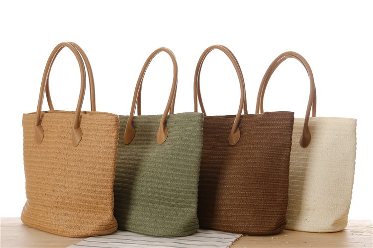 Large Sized Straw Travel Bags with Multi Color Available