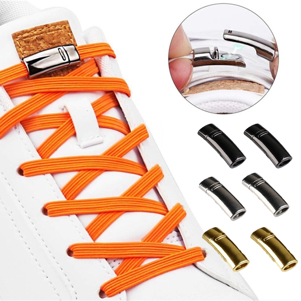 1Pair 1Second Locking Shoelaces Buckle Magnetic No Tie Shoe Laces Flat Locking Button Kids Adult Sneakers Lazy Laces Accessories