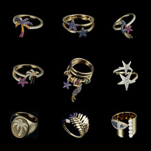 Circle Silver-Ring Gold-Plated Women Zircon-Tree 18k Fashion Pave for Bird Fine-Finger-Knuckle