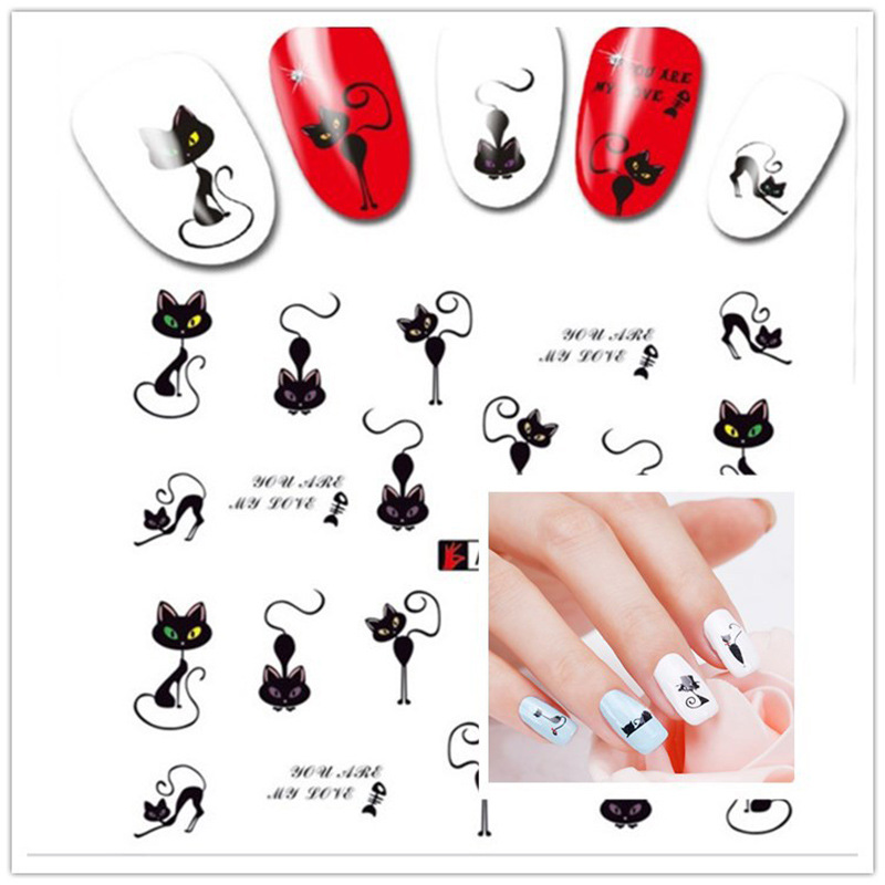 Foreign Trade Watermarking Japan New Style Cat Children Hot Selling Manicure Flower Stickers Nail Sticker A493-504 Mr. Zhang
