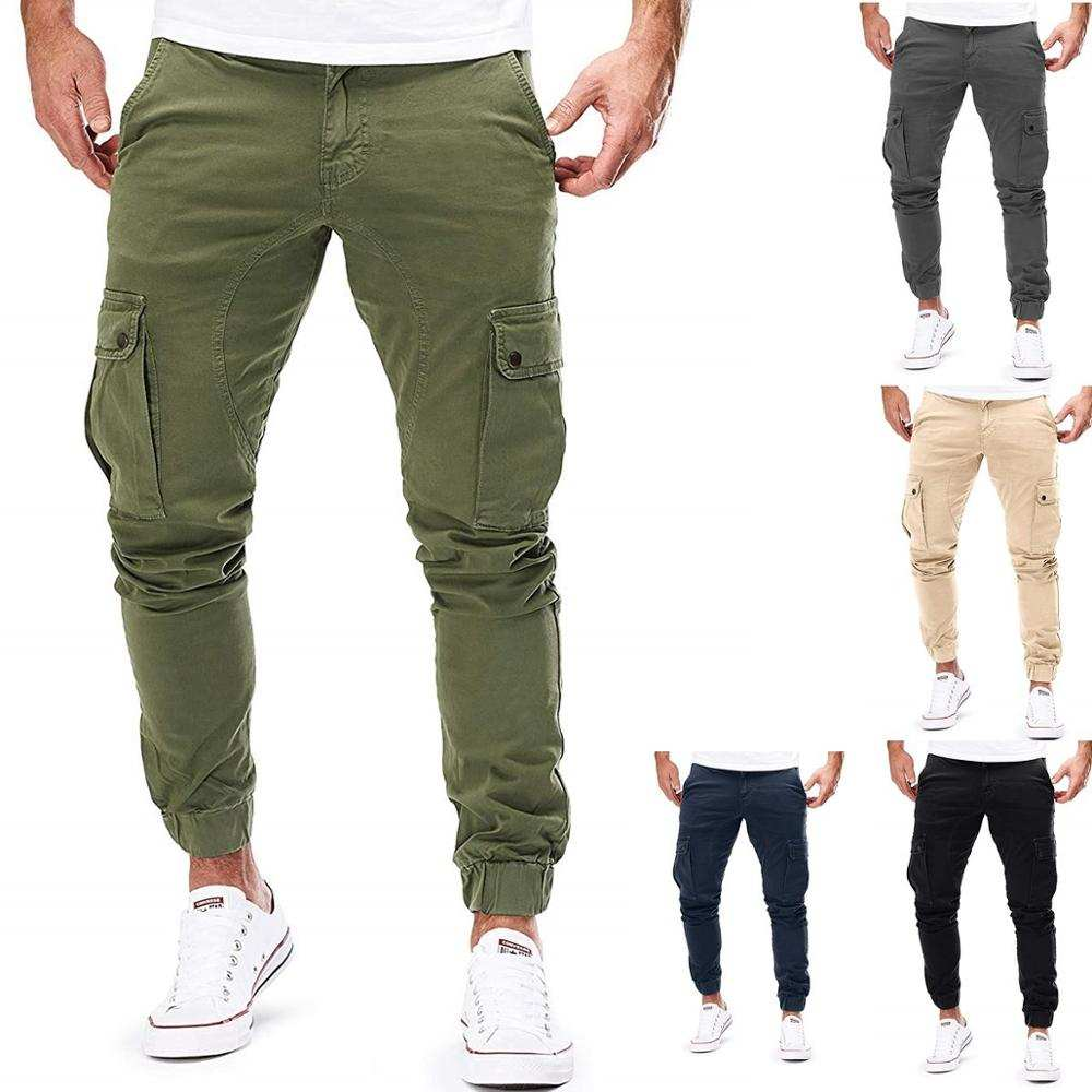 Mens Trousers Joggers-Pants Military-Sweatpants Sportswear Cargo Hip-Hop Multi-Pocket