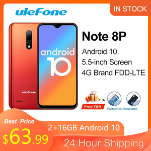 Ulefone Note 8P Global version Smartphone Android 10 4G Celular Phone Waterdrop Screen Quad Core 2GB+16GB 5.5-inch 8MP Camera