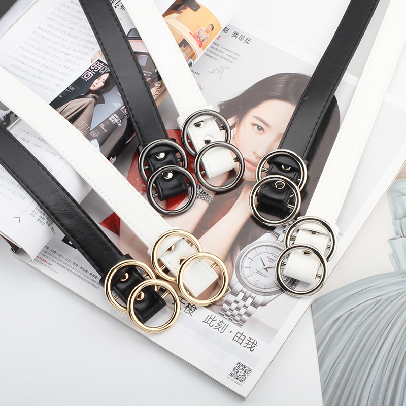 Black Leather Belt Woman Waist Belts For Women Gold Silver Buckle Faux Leather Cinturon Mujer Vintage G Ceinture Femme Waistband