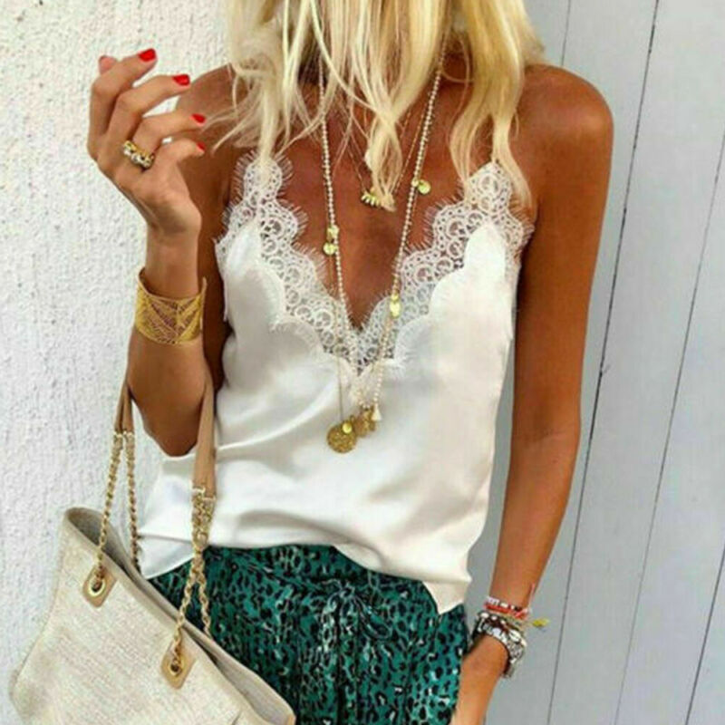 2020 Brand New Summer Women Sexy Strappy Tank Top Sequined Camis Lace Ladies Satin Silk Feminino Sequin Tops Femme Camis Top