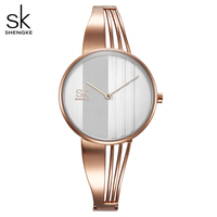 Shengke אופנה זהב-מצופה נשים שעונים קסם גבירותיי שעון יד צמיד קוורץ שעון נשים Montre Femme Relogio Feminino