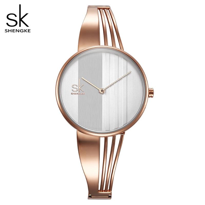 Shengke Fashion Gold-plated Women Watches Charm Ladies Wristwatch Bracelet Quartz Watch Women Montre Femme Relogio Feminino